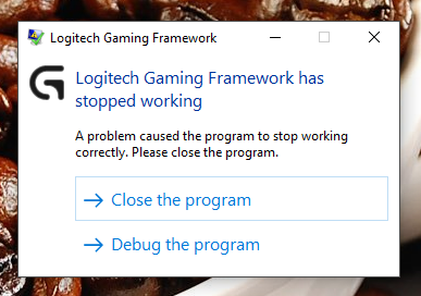 Logitech Gaming Framework has stopped working